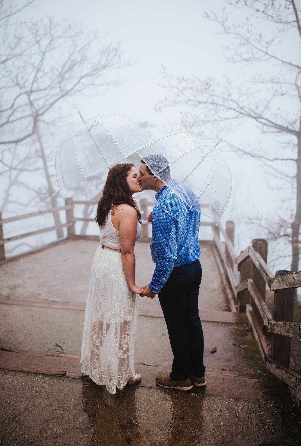Rainy Engagement Session at Pilot Mountain by Kayli LaFon Photography