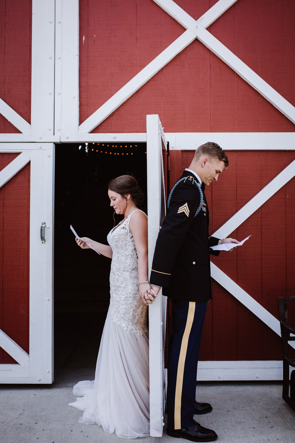 Bride and Groom first touch and letter reading | Kayli LaFon Photography