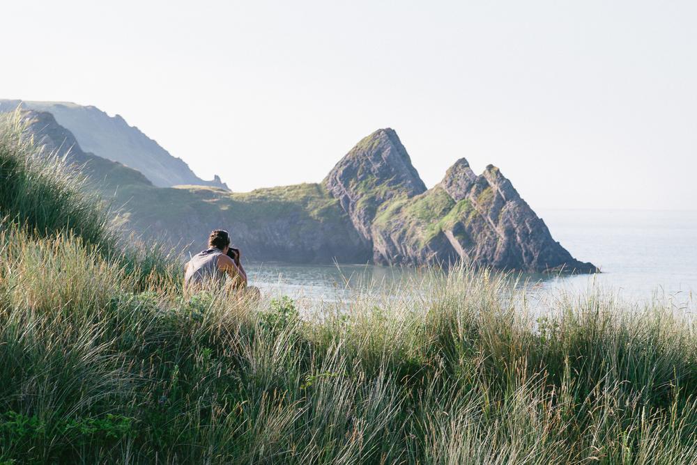 Beach camping 3 cliffs bay