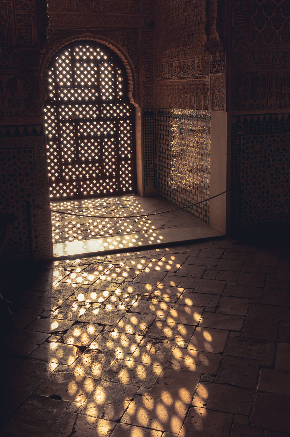 Evening light through a window in the Alhambra.
