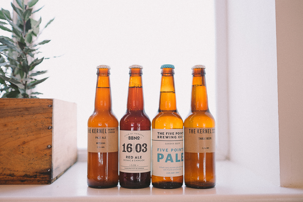 A sample of the fine selection of beers and ciders that are on offer.