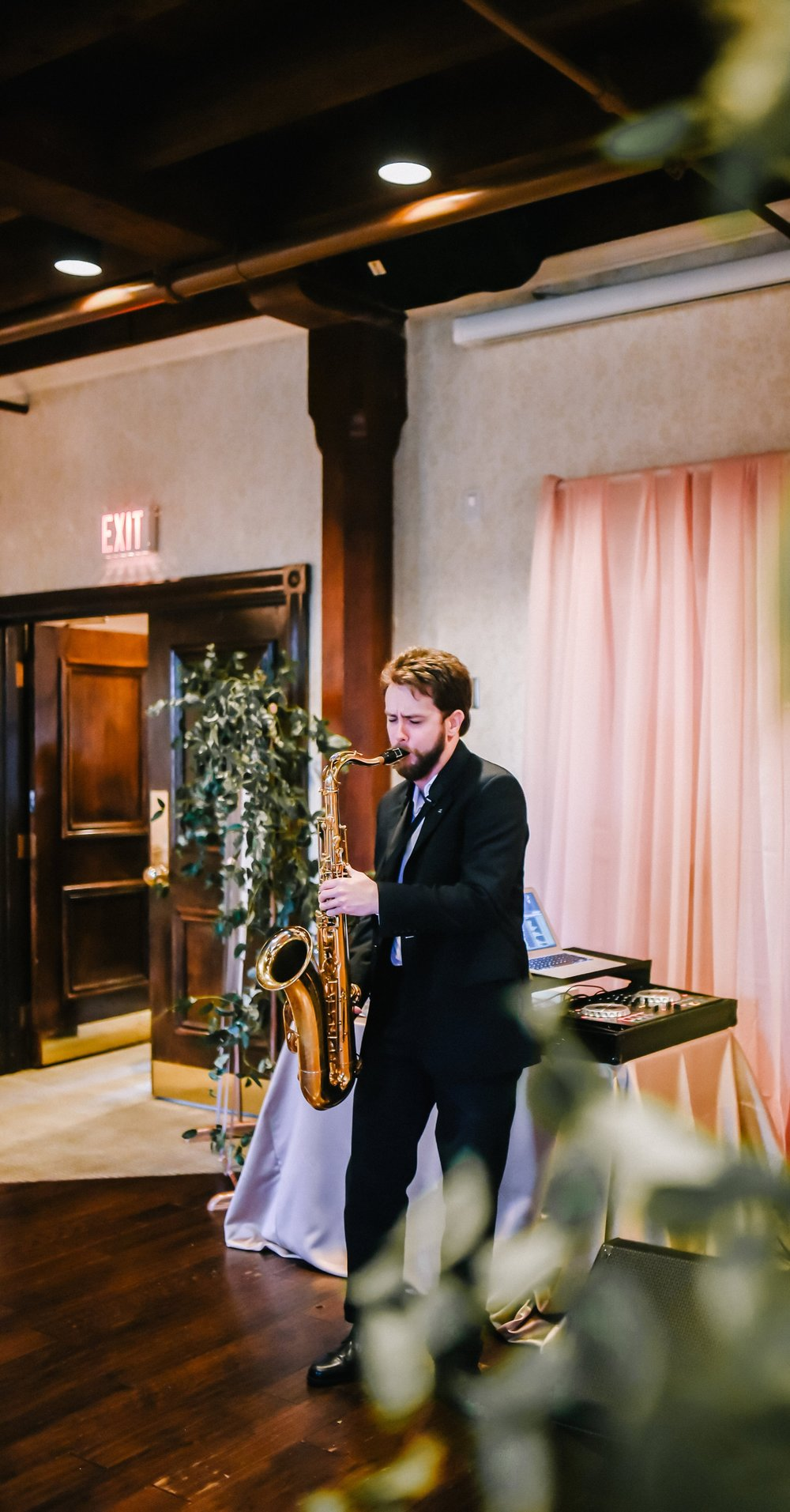 Ryan playing Saxophone at Ancaster Mill