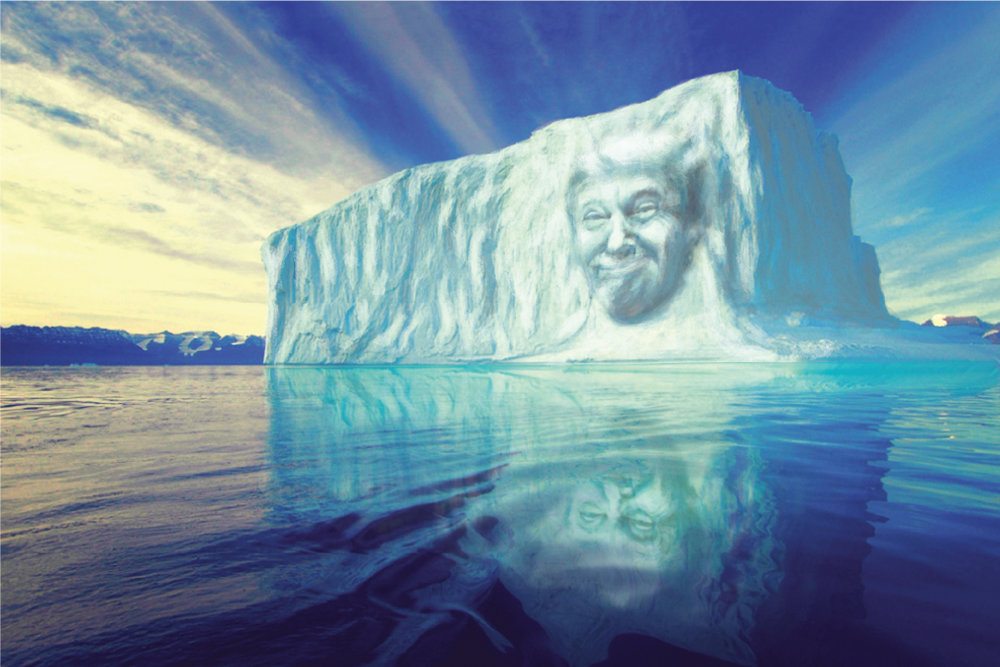 He recently asked to be carved into the rocks of Mount Rushmore, but now Greenpeace can grant him something a little cooler. By sculpting his face into an iceberg the world can watch it slowly melts into oblivion via live stream. Pitched in 2017 to Google, the idea is now being made via the Melting Ice Association.
