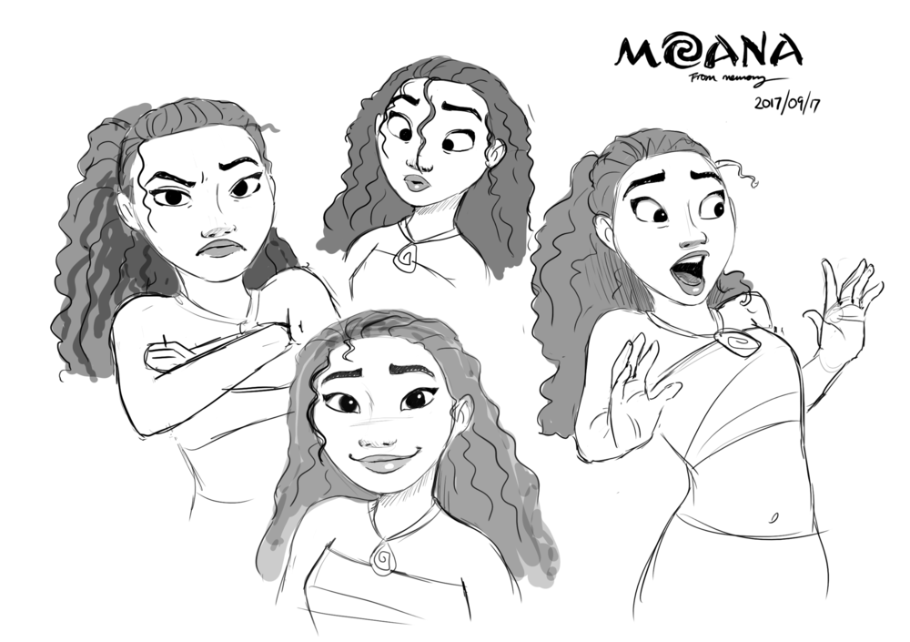 Last night we watched Moana once again. Probably for the 76th time, as the clones love it. I drew some sketches of Moana, on REAL paper... from Jin Kim. Who incidentally has one of the best names ever. I drew these sketches above from my memorybwains, and they're not horrendous, which I believe is a win.   It's amazing how you can view your own work relatively. Relative to Jim Kim, my work IS horrendous.... but relative to my two four year old twins, I'm a freakin' GENIUS!  One must keep a balanced perspective however. And in the interest of Balance, I will now draw something relatively horrendous.