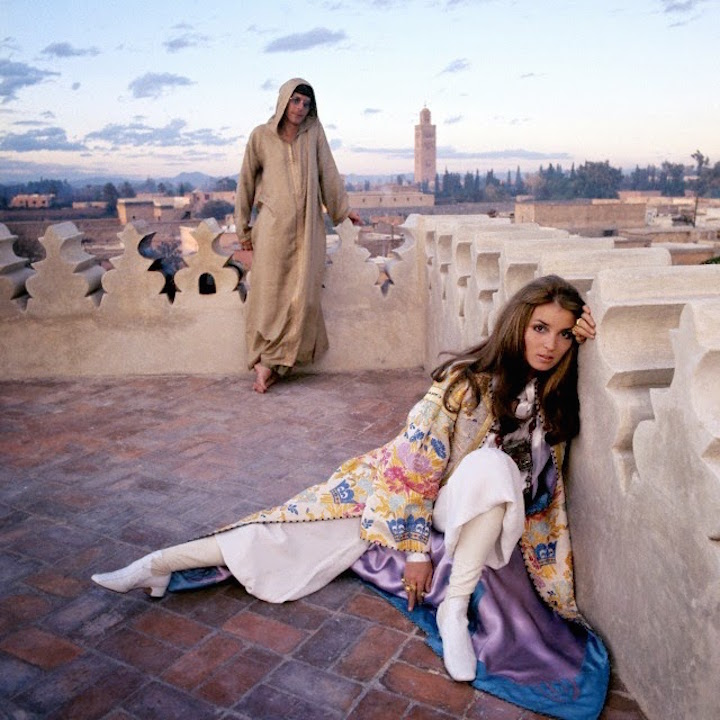 Talitha Getty with her husband J.Paul Getty Jr. on the roof of their Ryad in Marrakesh in 1969.