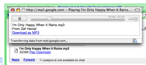Gmail mp3 player