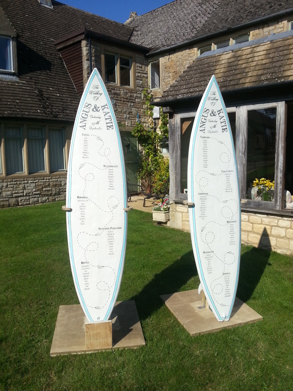 Wedding Table Plan Surfboards (2014)