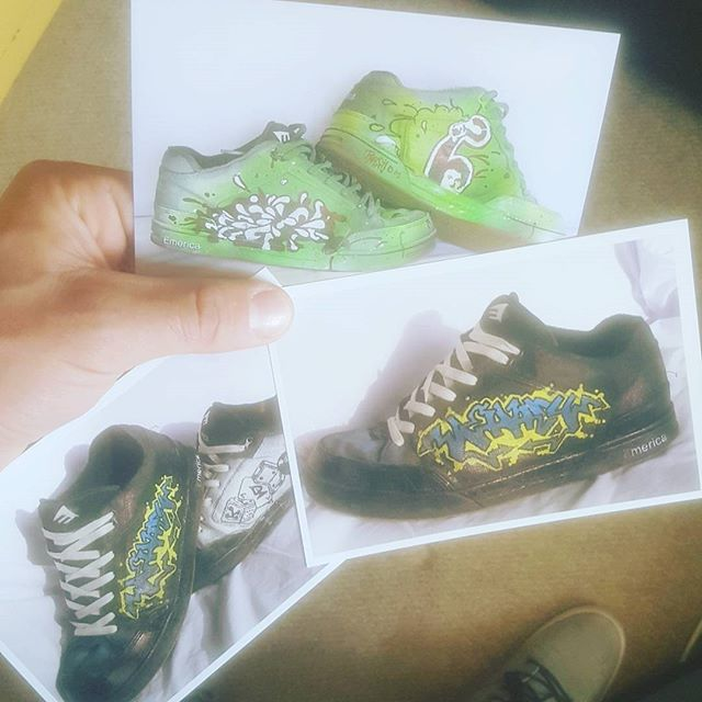 Throwing out old stuff and came across these photos from when I painted some pairs of shoes about 15 years ago, not my designs btw. Think one was a copied @houseofmeggs design, not sure on the other... #illustration #graffiti #trainers #illustration