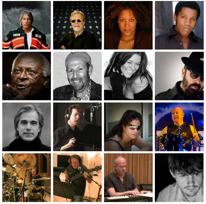 A SAMPLE OF THE CONTRIBUTING ARTISTS (clockwise from top left): Mark Warford; Leif .E. Boman; Kenna Ramsey; Ty Taylor; Archbishop Desmond Tutu; Adam Behr; Joss Stone; Dave Stewart; Niels Lan Doky; Wayne June; Aicha Boman; Chris Moore; Trevor Thornton; Richard Thomas; Daniel Nielsen; Isha Erskine.