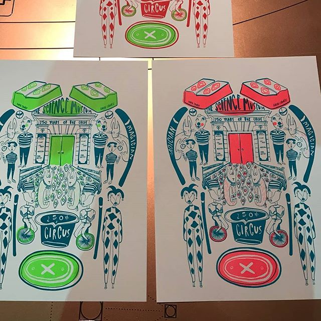 Amazing screen prints of this illustration by @kaush.chorlie celebrating the circus at #smlates last month. We are already getting ready for next month celebrating 10 years of lates at the @sciencemuseum! #printmaking #screenprinting #printspotters #liveprinting #workshop #events #artworkshop #illustration #sciencemuseum