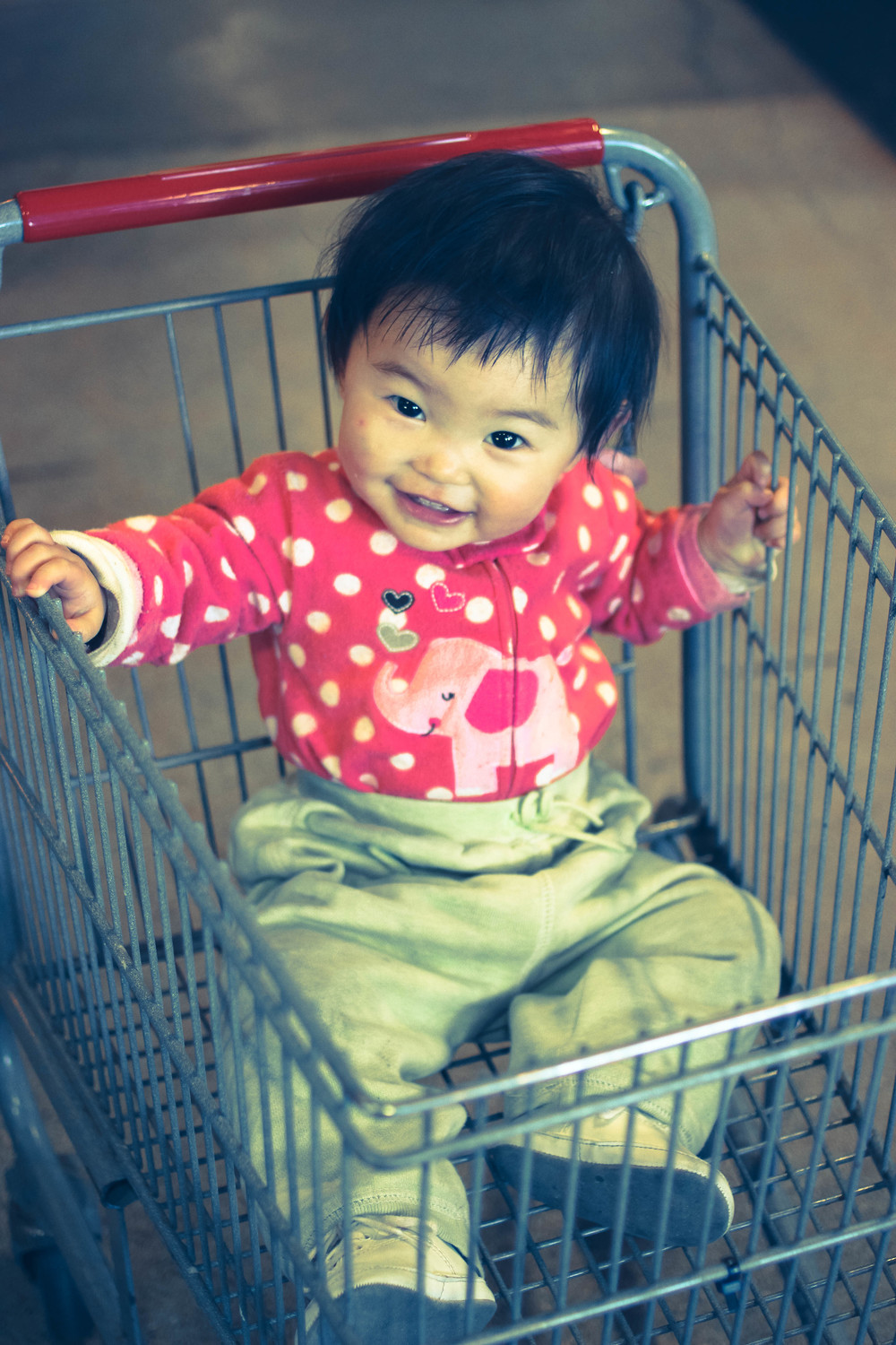 One of our littlest co-operators, Anyi, shopping after Co-op Kids.