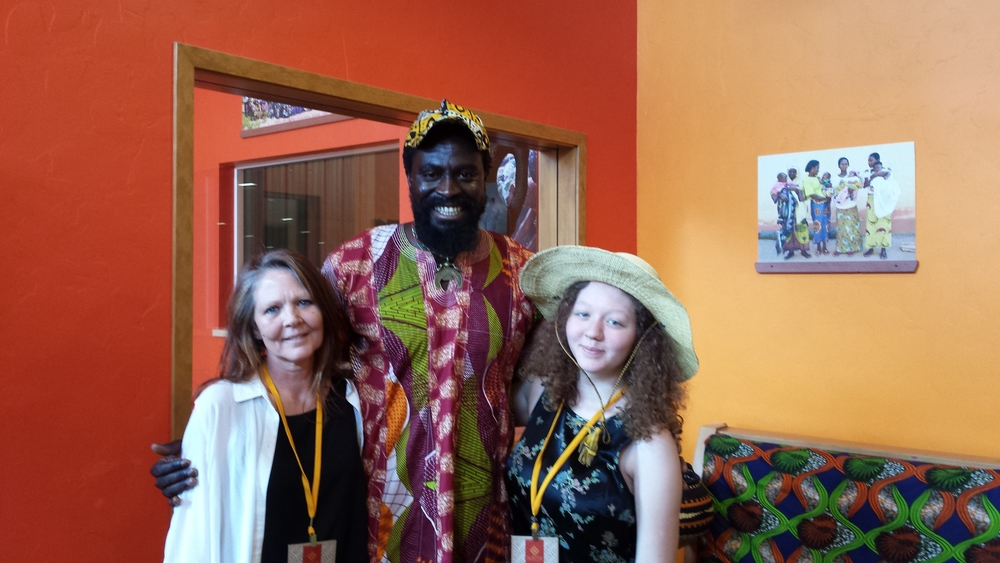 Chris, Olowa-n'djo, and Claire at the Alaffia headquarters.