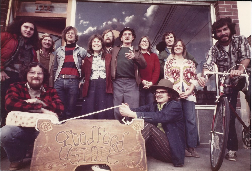 Jim remembers the first names of two people in this 1974 photo. Elaine, 4th from left, was a key player in the Co-op's survival before she moved away from Moscow. The man in the left foreground, Chris, also gave a lot of energy to the cause.