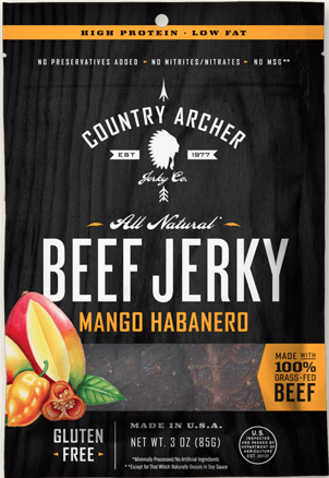 - Country Archer JerkyCountry Archer's line of artisan jerkies and meat snacks are made in small batches using healthful ingredients and protein options like grass-fed beef, antibiotic-free turkey and pork. Meat that is 100 percent grass-fed is lean and contains a high percentage of good fats such as CLA (Conjugated Linoleic Acid) and omega 3s, with beneficial antioxidant vitamins and minerals. The company has been selling jerky since 1977, initially from roadside stands in California and now nationwide. Then, as now, their jerkies are gluten-free, with no preservatives, hormones, antibiotics, Monosodium Glutamate, or nitrates/nitrites. Be sure to reach for these when you need a healthful snack: mango habanero beef and hickory smoked turkey.