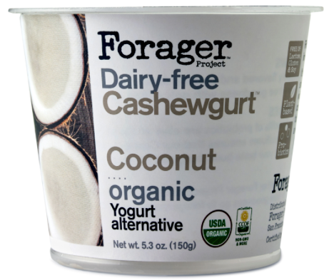 - Forager's CashewgurtForager's dairy-free Cashewgurt is a creamy yogurt alternative that is rich in probiotics and made from organic cashews. It is certified organic; made with non-GMO (genetically modified) ingredients; free of lactose, gluten and soy; and kosher. Forager's stands by many principles, some of which are: organic is best; a plant-based diet of nuts, seeds, ancient grains, and vegetables is key; be humble, grateful, respectful, driven, passionate, curious and honest; reduce waste; and honor nature. Minimally-processed and low in sugar, cashewgurt is available in four velvety flavors: strawberry, blueberry, vanilla, and coconut.