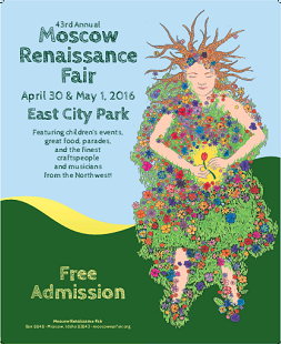 Submit Now -  This is a call to artists to submit their entries for the 45th Annual Moscow Renaissance Fair Poster Contest. Posters should reflect a whimsical, colorful celebration of spring, not necessarily the Renaissance period. (Thanks to the Renaissance Fair Board for permission to post the 2016 Poster Winner)