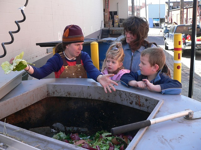 Nora Locken sharing the composting excitement with our community! Photo by David Hall
