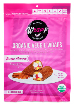 """- WrawP Foods Veggie and Fruit WrapsWrawP Foods' goal is to """". . . offer healthy and unprocessed food to everyone""""– without compromising quality. Their rectangular-shaped wraps are made using hand-cut organic fresh vegetables, fruits and spices that are dehydrated at a low temperature for 14 hours to preserve nutrition, enzymes and flavor. WrawP wraps are 100% organic, paleo-friendly, vegan, raw, gluten-free, low in fat and high in fiber, with no preservatives. They have a shelf life of 12 months and no refrigeration is needed. An excellent way to get more veggies and fruit into your diet, find these wraps on the wall by the milk cooler."""