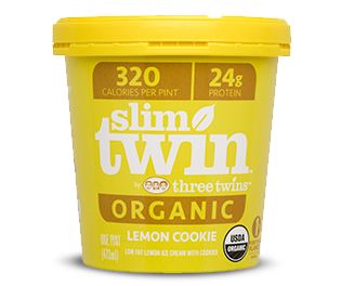 - Slim Twin Ice CreamNew from the producers of Three Twins comes a low-calorie version of their rich and creamy ice cream called Slim Twin. Three Twins was born in San Rafael, California in 2005 when founding twin Neal Gottlieb set out to craft delicious ice cream using organic ingredients. Slim Twin is free from the added salt, glycerin, and stevia that you find in other low-calorie brands. Weighing in at only 240-320 calories for an entire pint, with 24 grams of protein and certified organic, Slim Twin is the perfect treat for those wanting a sweet treat without the guilt. Slim Twin is sweetened with organic erythritol, monk fruit, and cane sugar; the protein boost comes from milk protein concentrate. Try all six decadent flavors: chocolate, vanilla, coffee, cookies and cream, mint chip and lemon cookie.