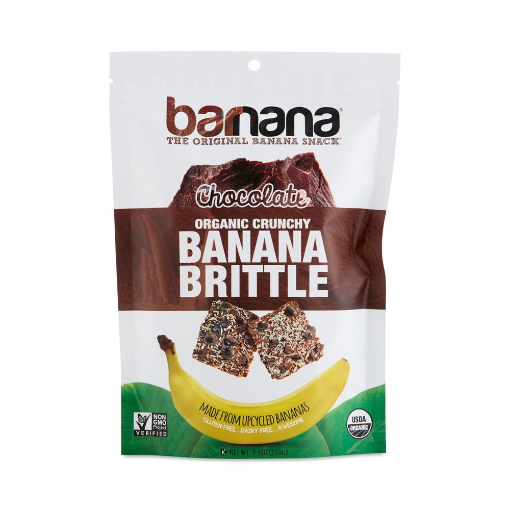 "- Barnana's Banana BrittleThe founders of Barnana believe that the banana is ""mother nature's original energy bar."" They are on a mission to end food waste on organic banana farms by ""upcycling"" the bananas that used to go to waste. When bananas have scuffs, are a little too ripe, or aren't the perfect size, they are typically rejected for export. Barnana turns them into snacks. Their banana brittles, like all of their products, are USDA organic, Non-GMO Project Verified, gluten-free, kosher, and vegetarian. They come in three flavors: peanut butter banana, ginger banana, and coconut banana, and they can be found with the packaged cookies."