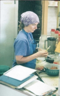 """Annie Hubble -- aka """"fast food Annie""""-- whips up a deli lunch special at the 310 W. 3rd location, circa 1990."""