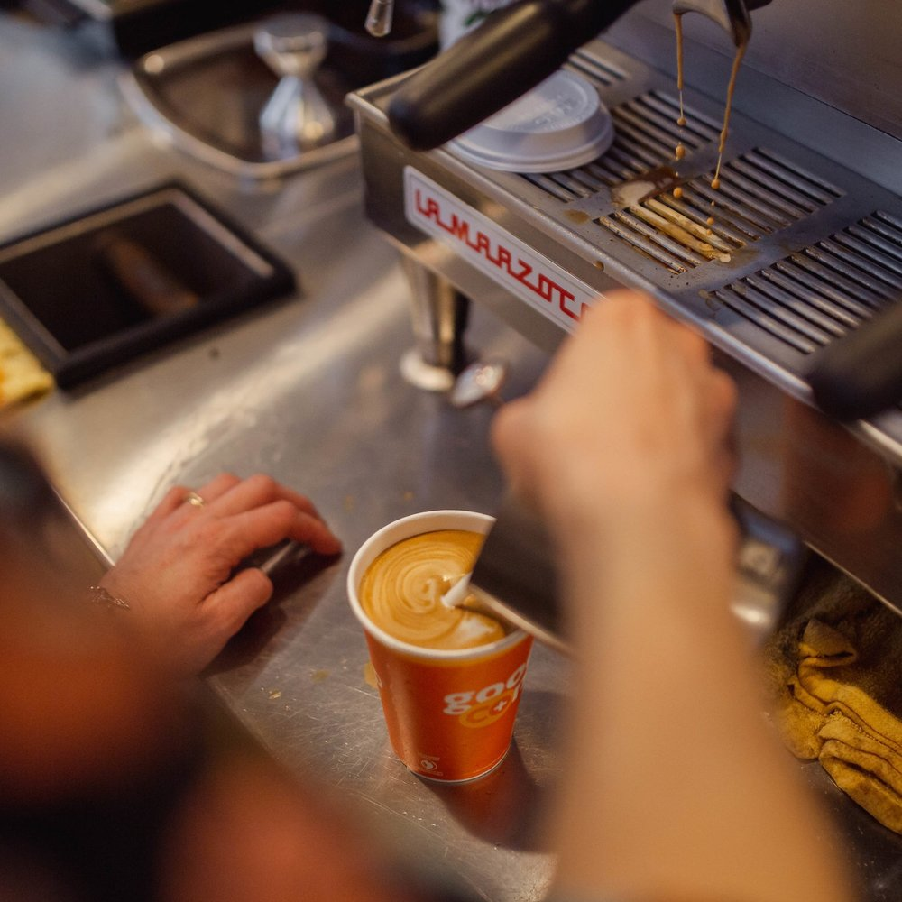 Organic coffee and espresso - Need a pick-me-up on the way to class? Our freshly-roasted coffee is always made from organic beans, and always prepared exactly how you want it. Dairy free? You've got options here.And for Co-op Owners, every tenth cup is free!