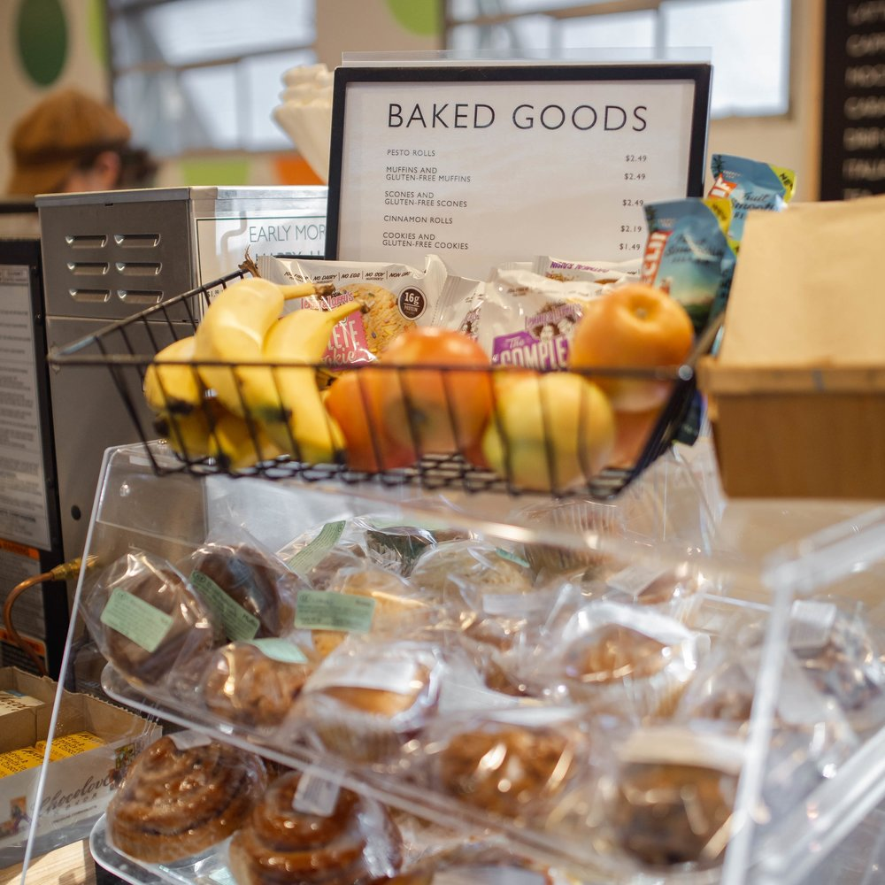 House-made baked treats and sandwiches - Every day, we stock our shelves with fresh-baked goodies from the Co-op Downtown, including scones, muffins, and our famous pesto rolls. Gluten-free and vegan options available every day. We stock sandwiches, grab & go salads, and more!
