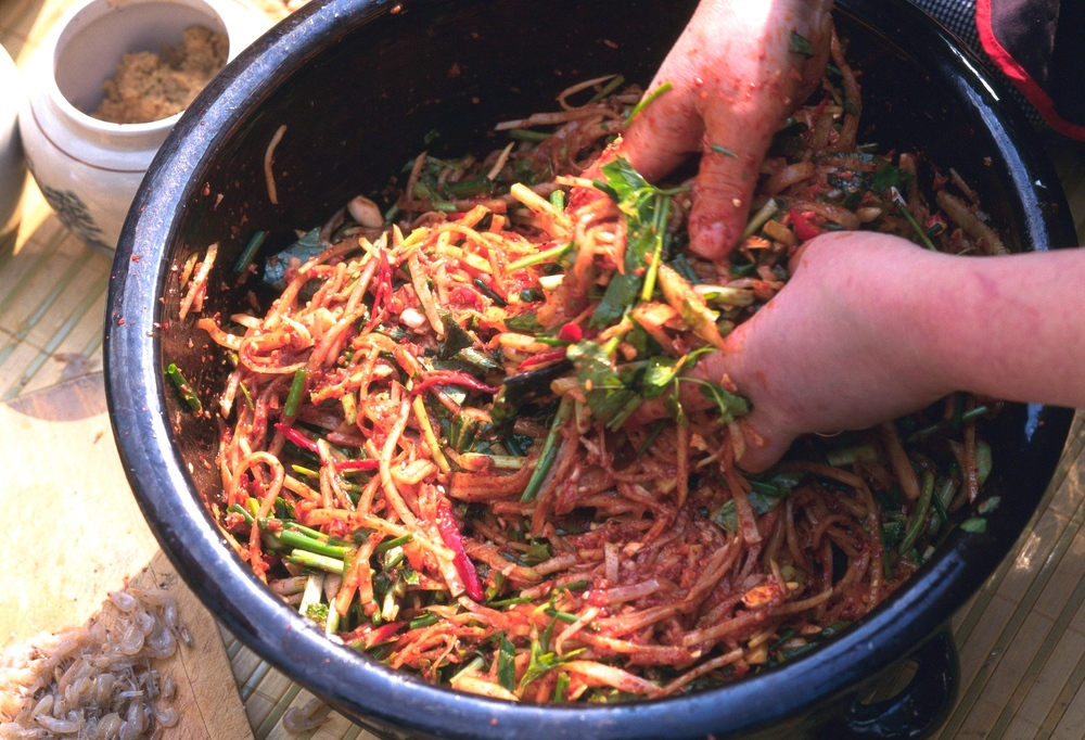 making kimchi, the traditional way