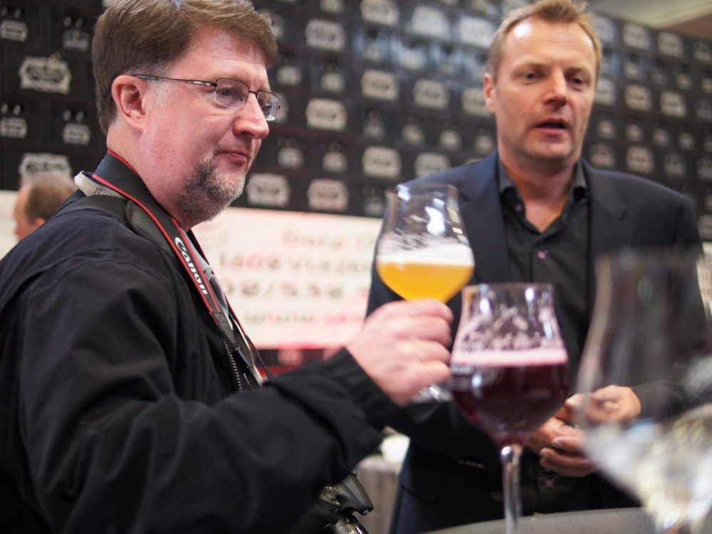 Chuck Cook with Dirk Lindemans during the 2015 Tour de Geuze, Belgian Beer Me Tour.