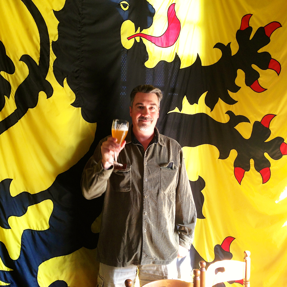 BBM! Founder Stu Stuart enjoying a Belgian beer in front of the proud Flemish Lion.  Santé! (To your health!).