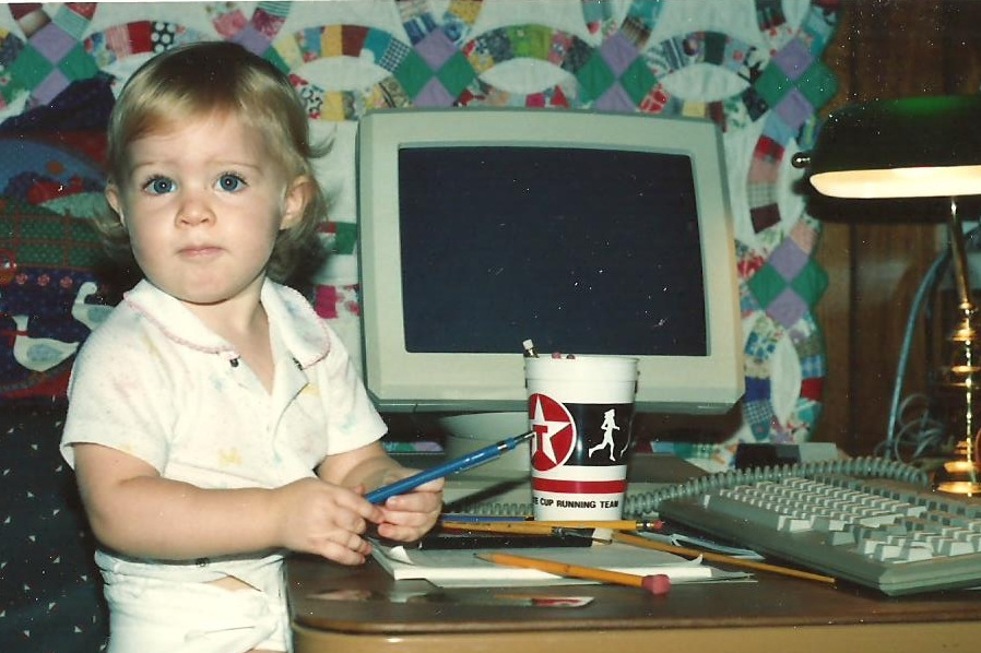 Circa 1990, an artist at work.