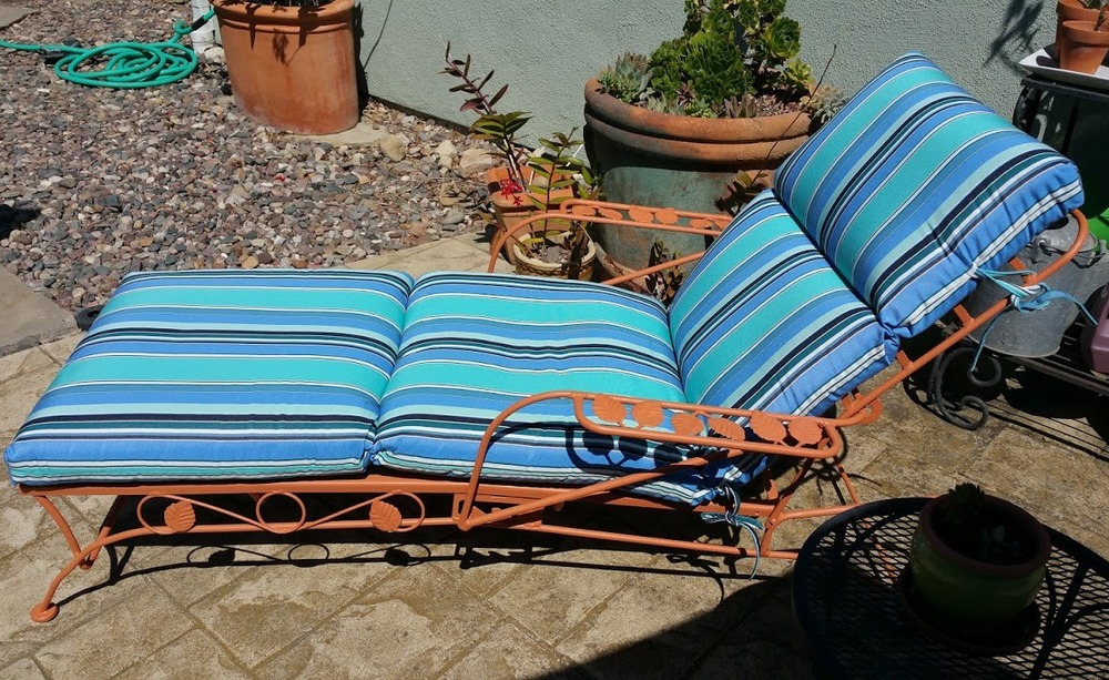 After sandblasting and repainting. Vintage, circa 1950's, wrought iron lounger.
