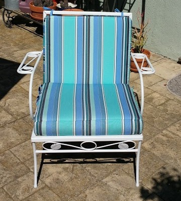 After repainting. Vintage, circa 1950's, wrought iron chair.