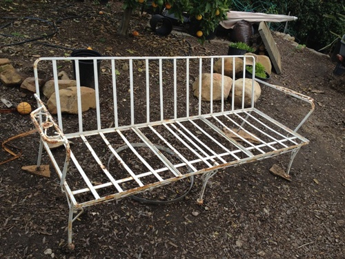 Vintage, circa 1950's, wrought iron couch was found