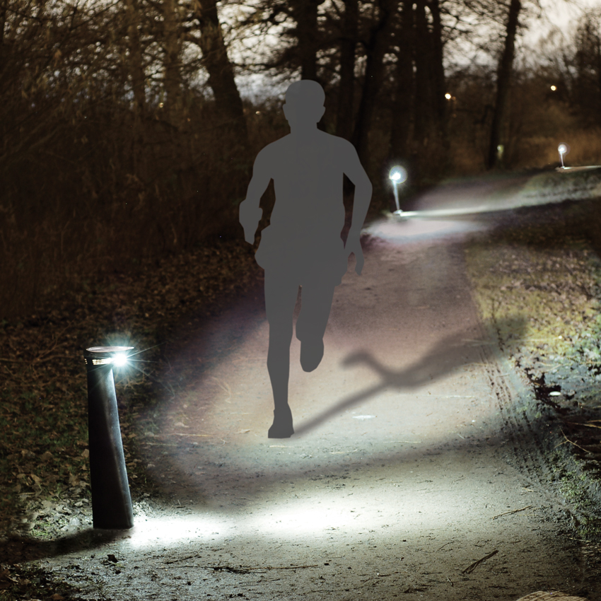Parkathon automatically lights up when a runner approaches.