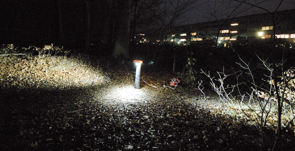 Tests of the placement and power of the LEDs was performed out in a forest, to get a correct result.