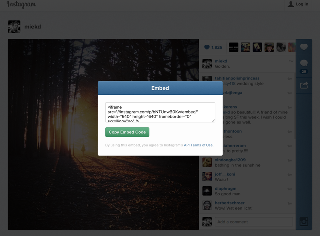 embed instagram videos and photos