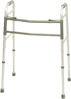 "The Invacare Bariatric Adult Walker provides a wide and deep frame that can support an individual up to 700 lbs. The dual-release buttons provide both visual and audible ""locked"" cues for the user. The durable aluminum frame provides maximum stability for consumers and the legs variable height adjustments."