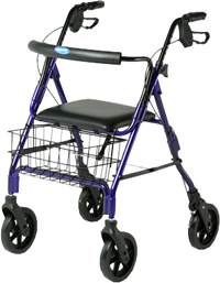 "The Invacare Bariatric Rollator is made of a durable and stable steel frame designed for individuals up to 500 lbs who need an extra wide and deep ambulatory device. The flip-up padded seat allows quick access to the storage basket while the 8"" wheels allow it to overcome obstacles."