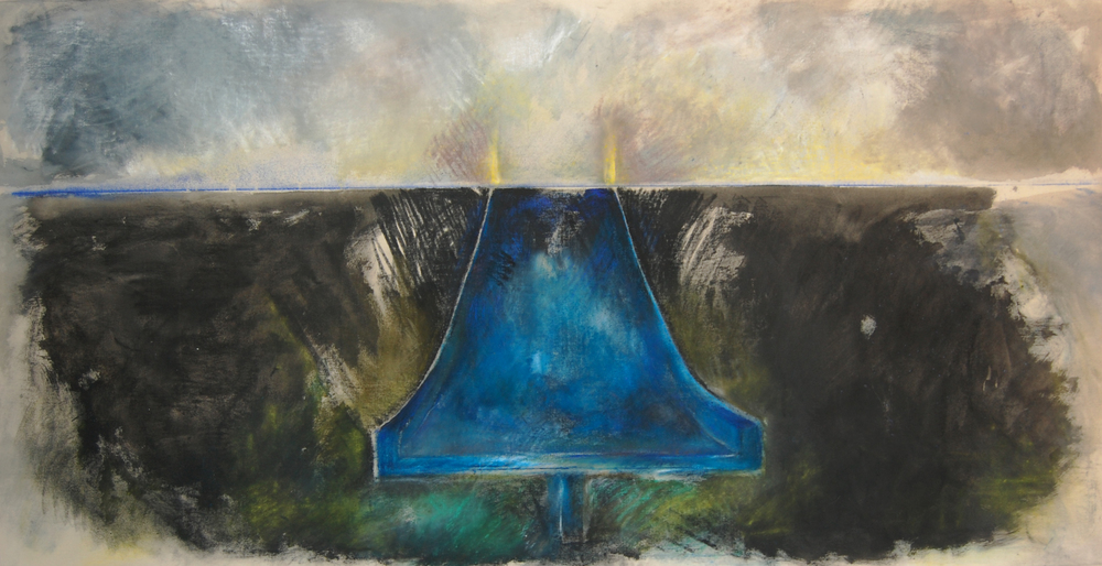 Deep Blue Slide, 4'x8', Pastel on canvas