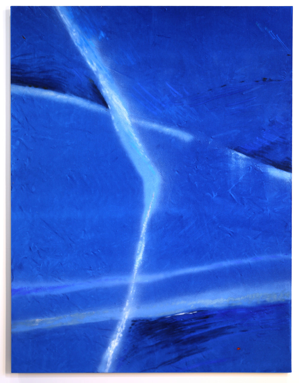 "Plush Chemtrails  Pastel and Road Marking Paint on Velvet 45""x60"""
