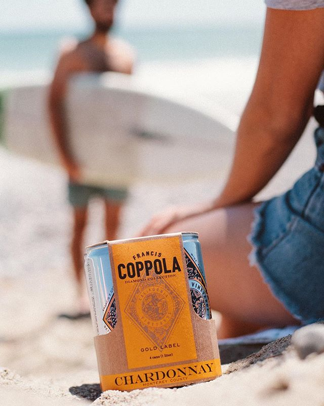 Wine goes with surfing and the beach now because it's canned? 🤷🏻‍♂️✨ Content shot for Francis Coppola // #neighborhoodcreative #branding #orangecounty