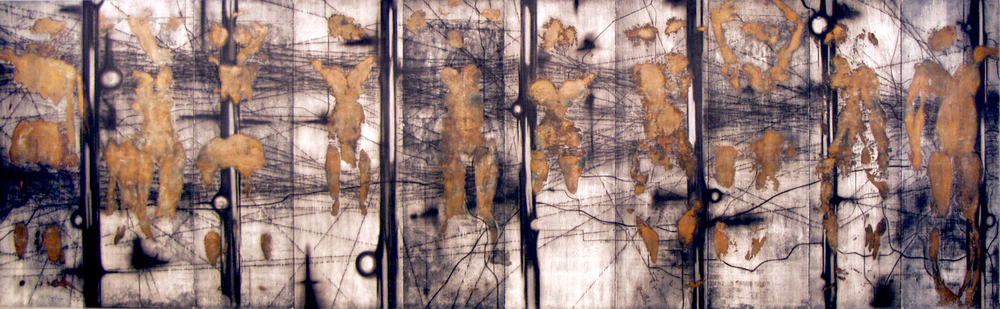 "Entropy                                                                                                                                                                                woodcut images on paper, mounted on prepared board                                                                                                           ink, paper, metallic foil, wood                                                                                                                                                      74"" X 240"" (20')                                                                                                                                                                       2005"