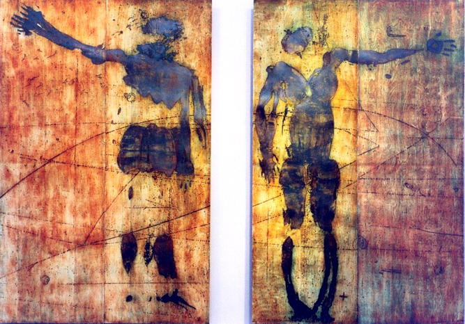 "Inclusion / Exclusion                                                                                                                                                             woodcut images on paper, mounted on prepared board                                                                                                               ink, paper, metallic foil, wood                                                                                                                                                       6' 2"" X 11'    (2panels)                                                                                                                                                                         2005"