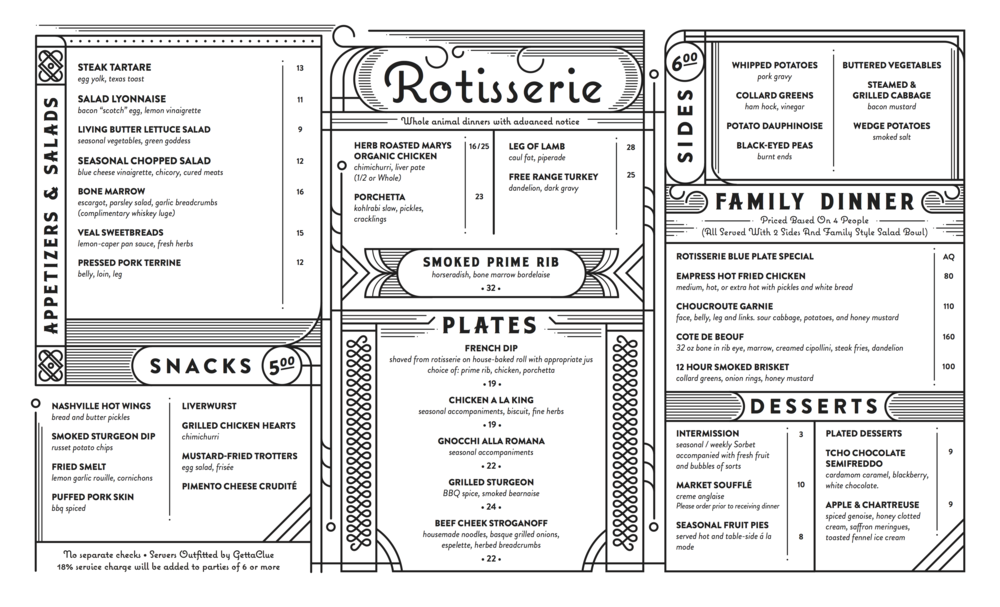 Menu pulled from their website.