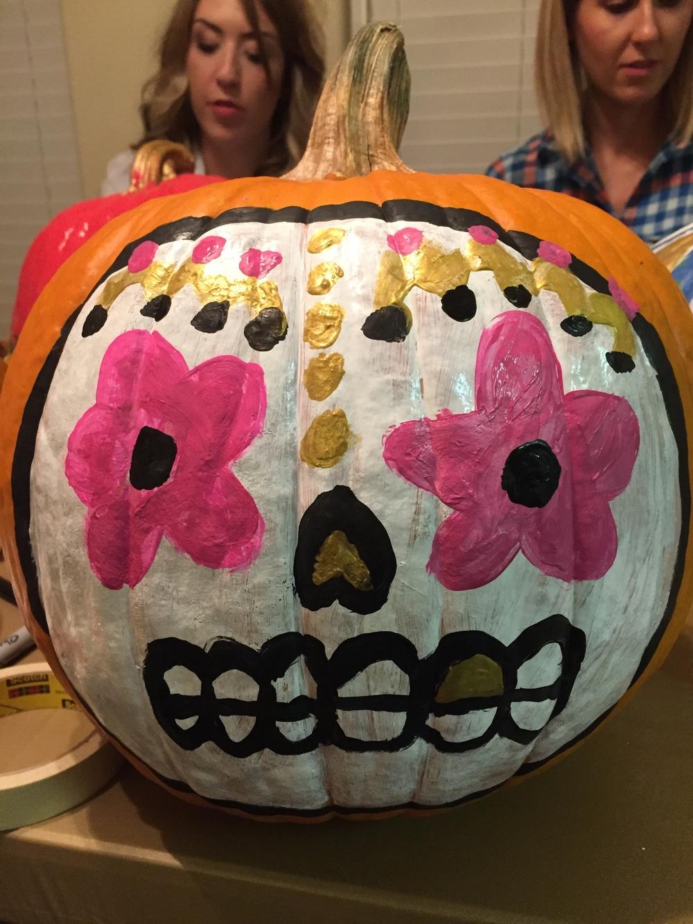 Anne's dias de los muertos pumpkin is the perfect combination of spooky and trendy.
