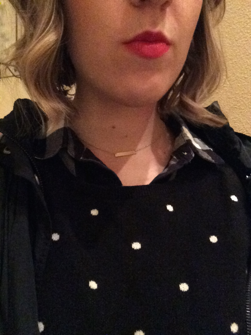 Polka dots and pink lips, shorter hair, ready for the next year.