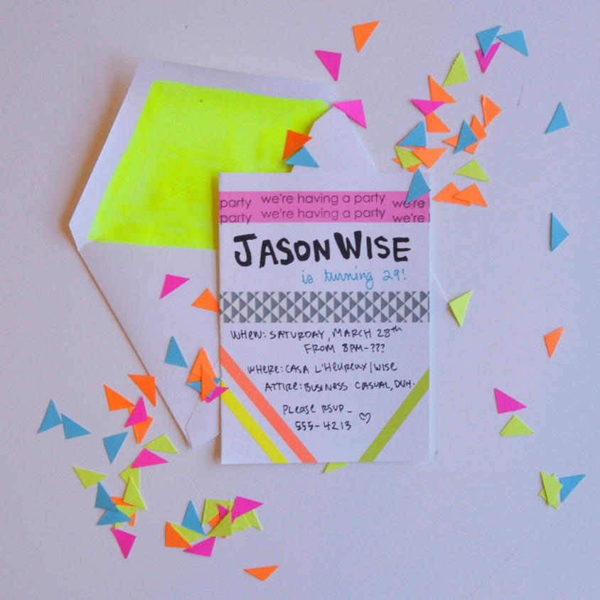 NEON WASHI TAPE INVITATION SUITE. - MAR. 2015