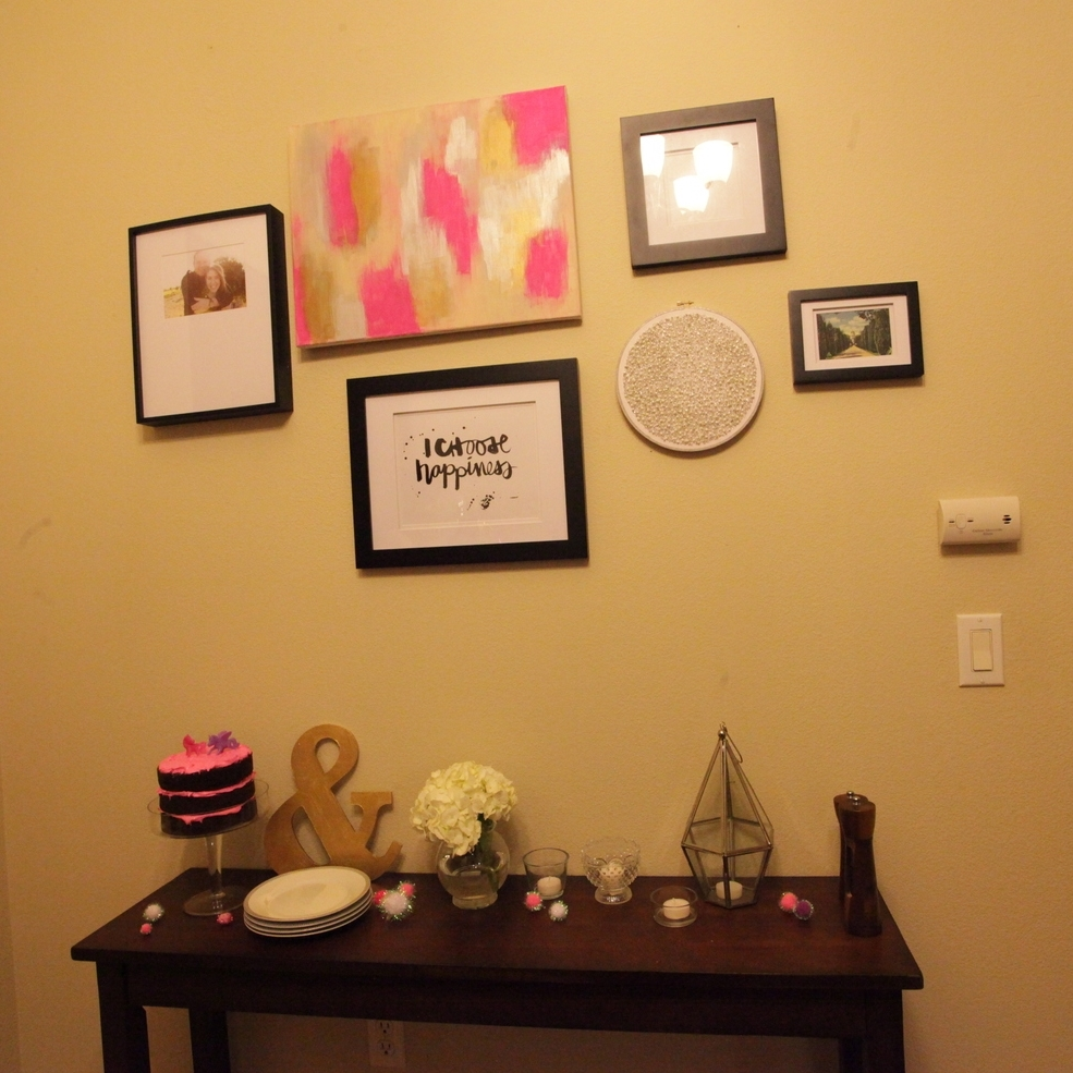I painted that pink, gold, and silver canvas months ago. It went perfectly with this party, so I left it up!