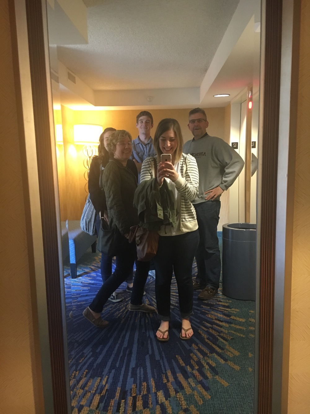 Family selfie in the hotel mirror!